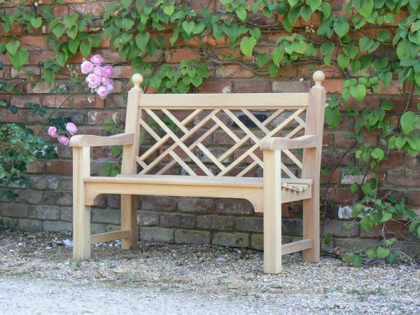 Two Seater Garden Seat - Chinoiserie Style, with Finial Balls