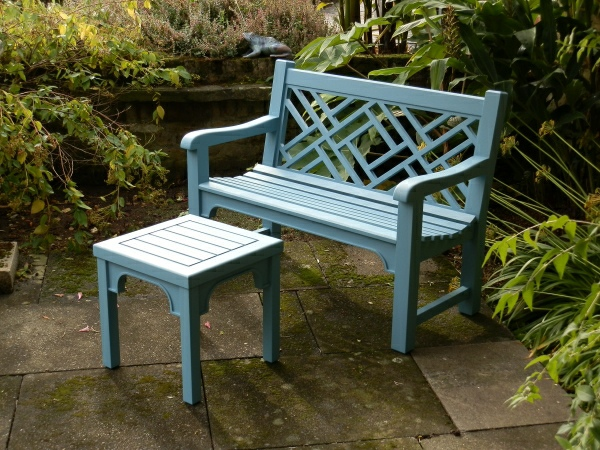 Two Seater Garden Seat - Chinoiserie Style, painted Cobalt Blue
