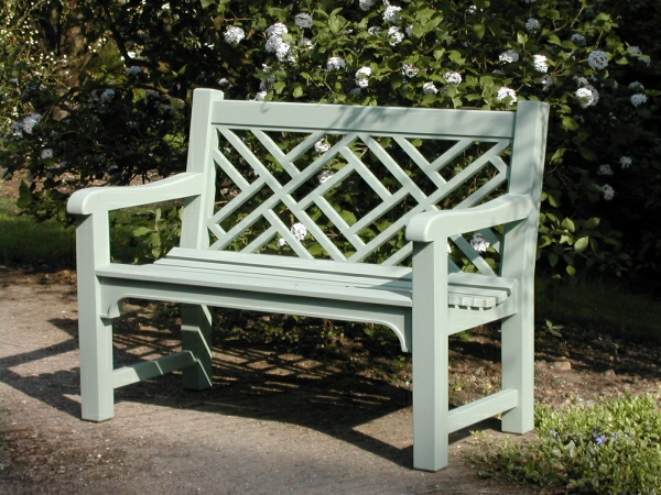 Two Seater Garden Seat - Chinoiserie Style, painted Light Tioram Green