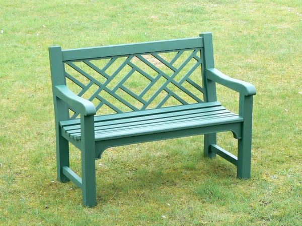 Two Seater Garden Seat - Chinoiserie Style, painted Malachite Green