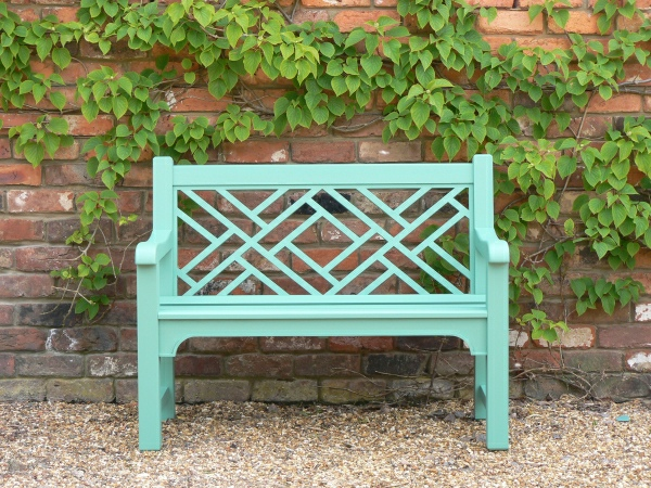 Two Seater Garden Seat - Chinoiserie Style, painted Tioram Green