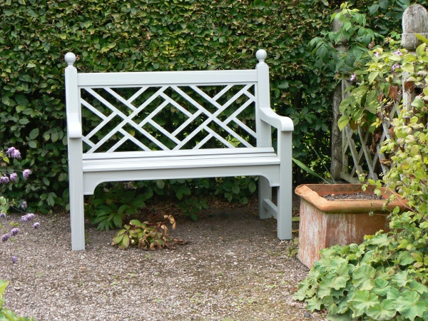 Two Seater Garden Seat - Chinoiserie with Finial Balls Style, painted White