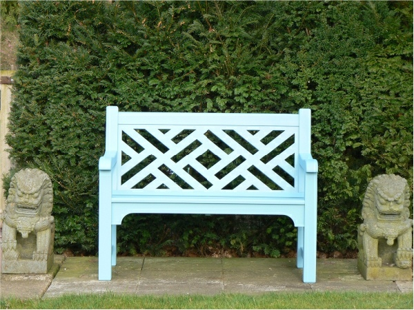 Two Seater Garden Seat - Chinoiserie Heavy Back Style