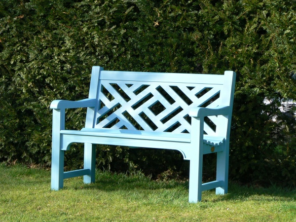 Two Seater Garden Seat - Chinoiserie Heavy Back Style, painted Tioram Green