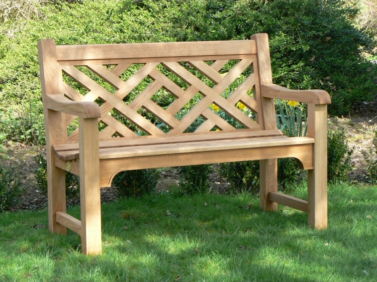Two Seater Garden Seat - Chinoisetrie Heavy Back Style