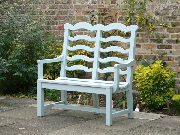 Two Seater Garden Seat - Ladderback Style painted Ice Blue