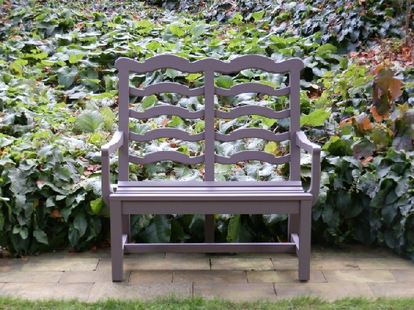 Two Seater Garden Seat - Ladderback Style, painted Shrew colour