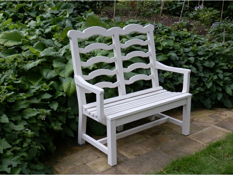 Two Seater Garden Seat - Ladderback, painted White