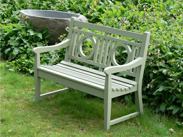 Two Seater Garden Seat - Leagrave Style painted Lichen Green