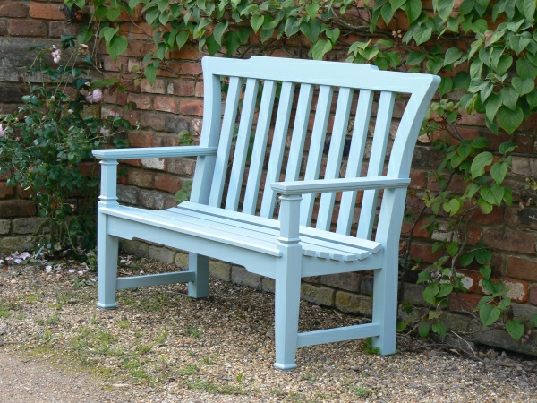 Two Seater Garden Seat - Leighton Style painted Dix Blue