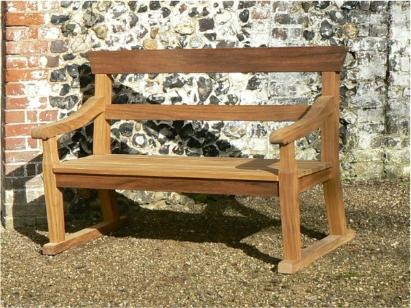 Two Seater Garden Seat - Park Style with double back rails, on Skids