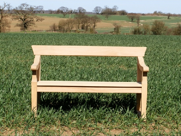 Two Seater Garden Seat - Park Style with single back rail, on Skids