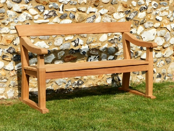 Two Seater Garden Seat - Park Style with single back rails, on Skids