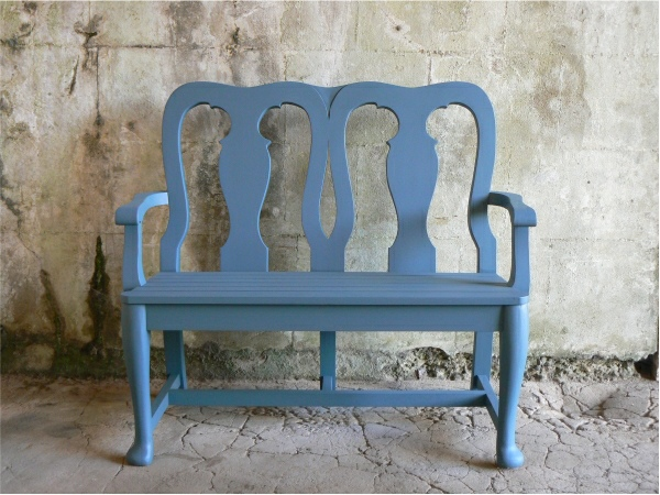 Two Seater Garden Seat - Queen Anne Style, painted Morning Blue