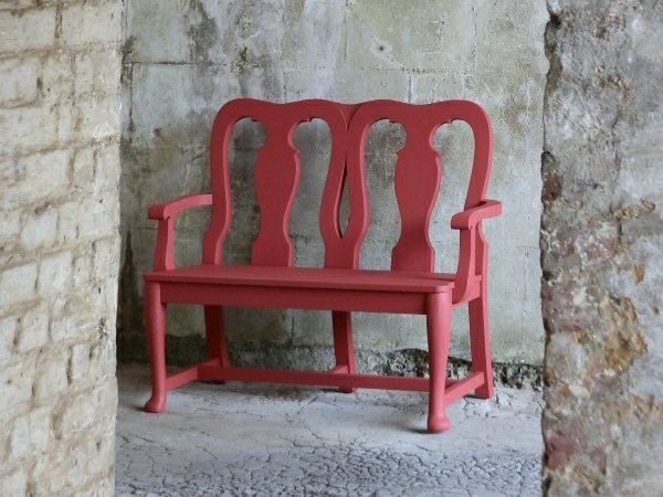Two Seater Garden Seat - Queen Anne Style, painted Doge Red