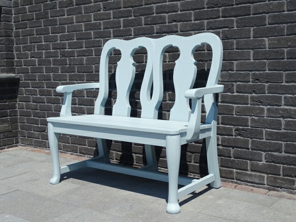 Two Seater Garden Seat - Queen Anne Style, painted Ice Blue