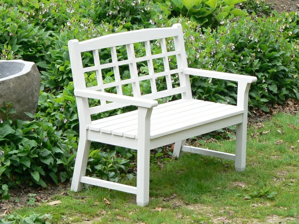 Two Seater Garden Seat - Dior Style, painted White