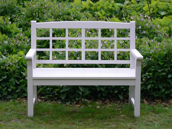 Two Seater Garden Seat - Dior Style, painted Light Grey
