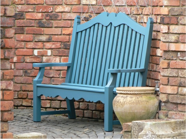 Two Seater Garden Seat - Edwardian Style, painted Peacock Blue