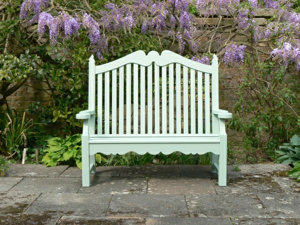 Two Seater Garden Seat - Edwardian Style, painted Light Tioram Green