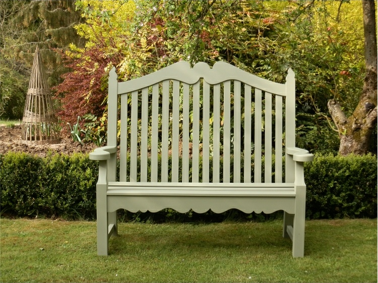 Two Seater Garden Seat - Edwardian Style, painted Lichen Green