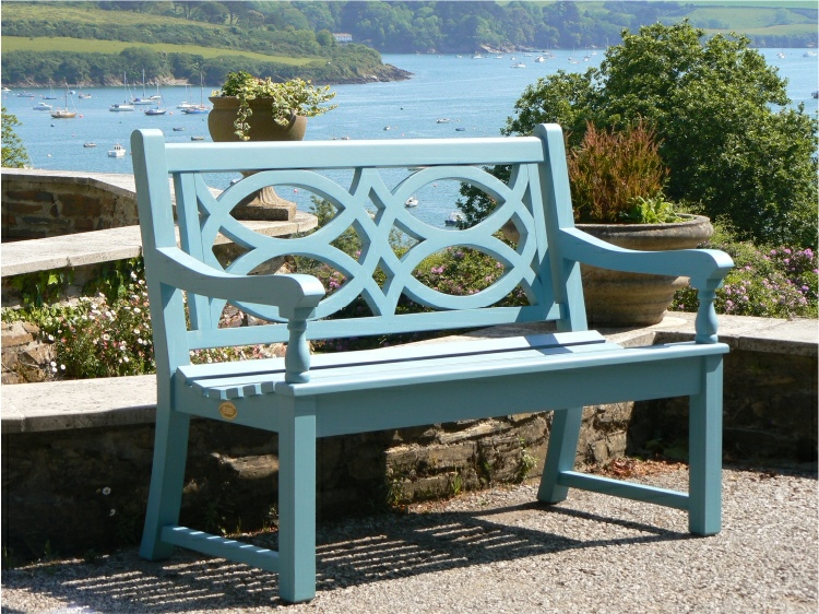 Two Seater Garden Seat - Hatfield Style, painted Cobalt Blue