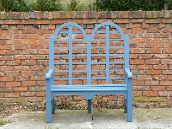 Two Seater Garden Seat - Highbacked Edo Style painted Morning Blue