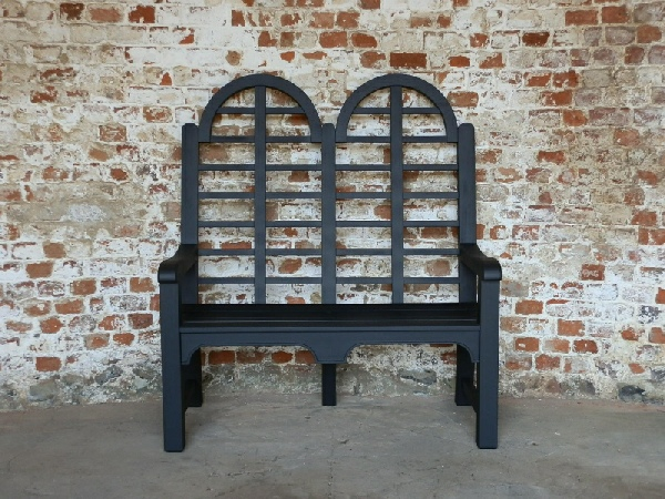 Two Seater Garden Seat - Highbacked Edo Style painted Black