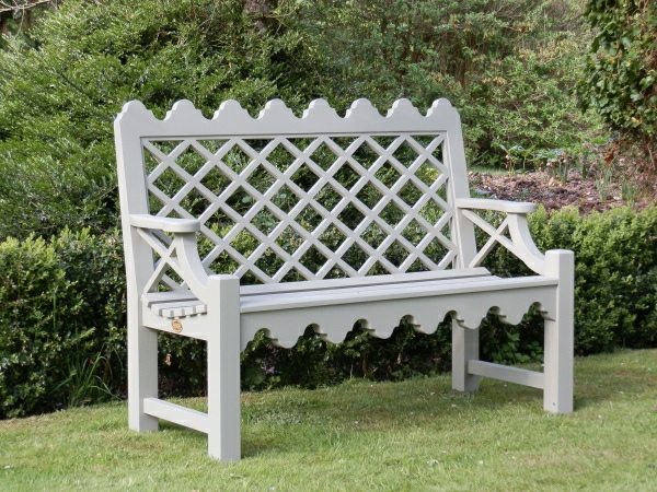 Two Seater Garden Seat - Indian Lattice Style painted Bent Grey