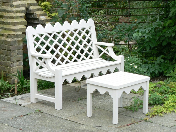 Two Seater Garden Seat - Indian Lattice Style painted Pointing White