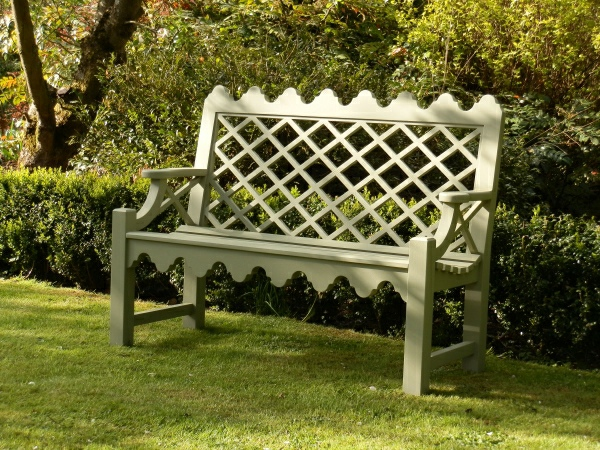 Two Seater Garden Seat - Indian Lattice Style painted Lichen Green
