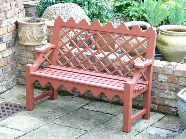 Two Seater Garden Seat - Indian Lattice Style painted Terracotta
