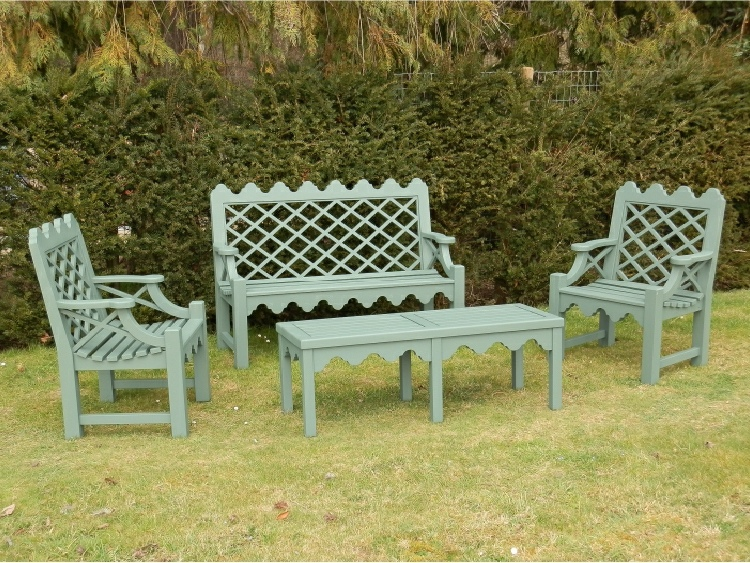 Two Seater Garden Seat - Indian Lattice Style, painted Dark Sage