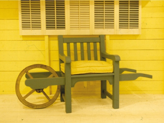 Wheelbarrow Chair - Slatted style, painted Forest Green